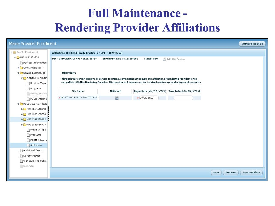 Full Maintenance - Rendering Provider Affiliations