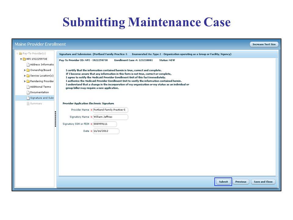 Submitting Maintenance Case
