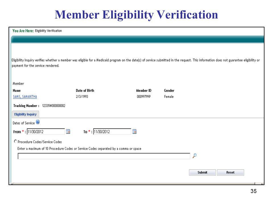 35 Member Eligibility Verification