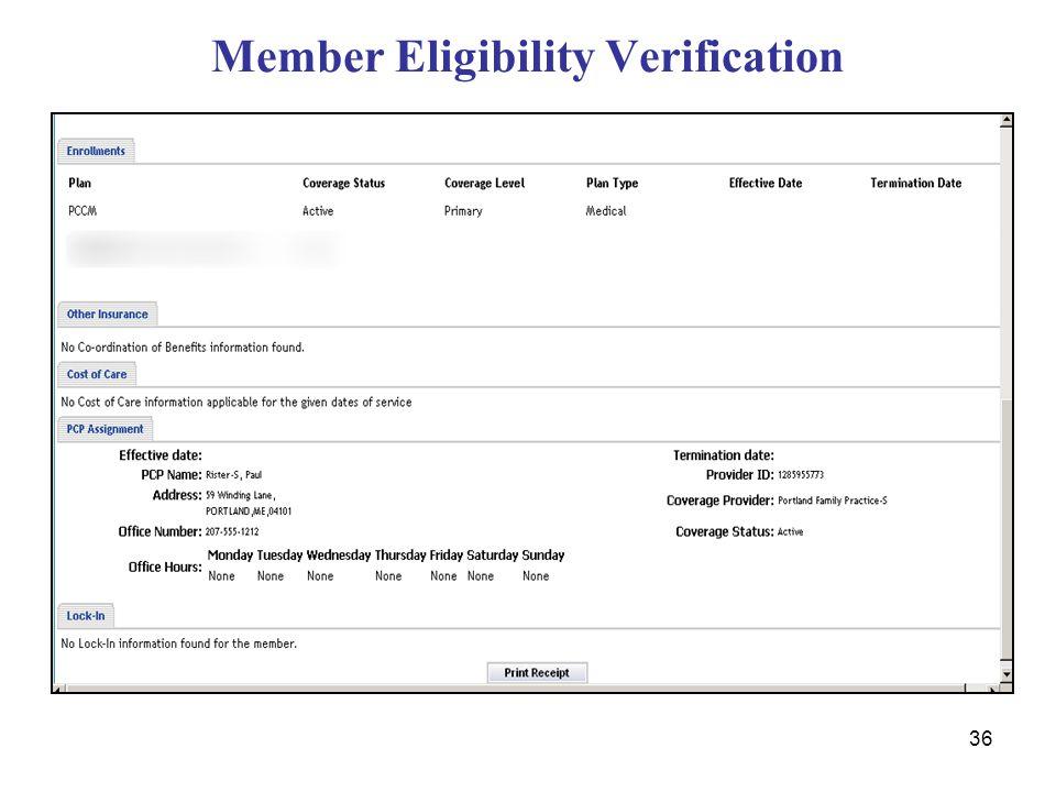 36 Member Eligibility Verification