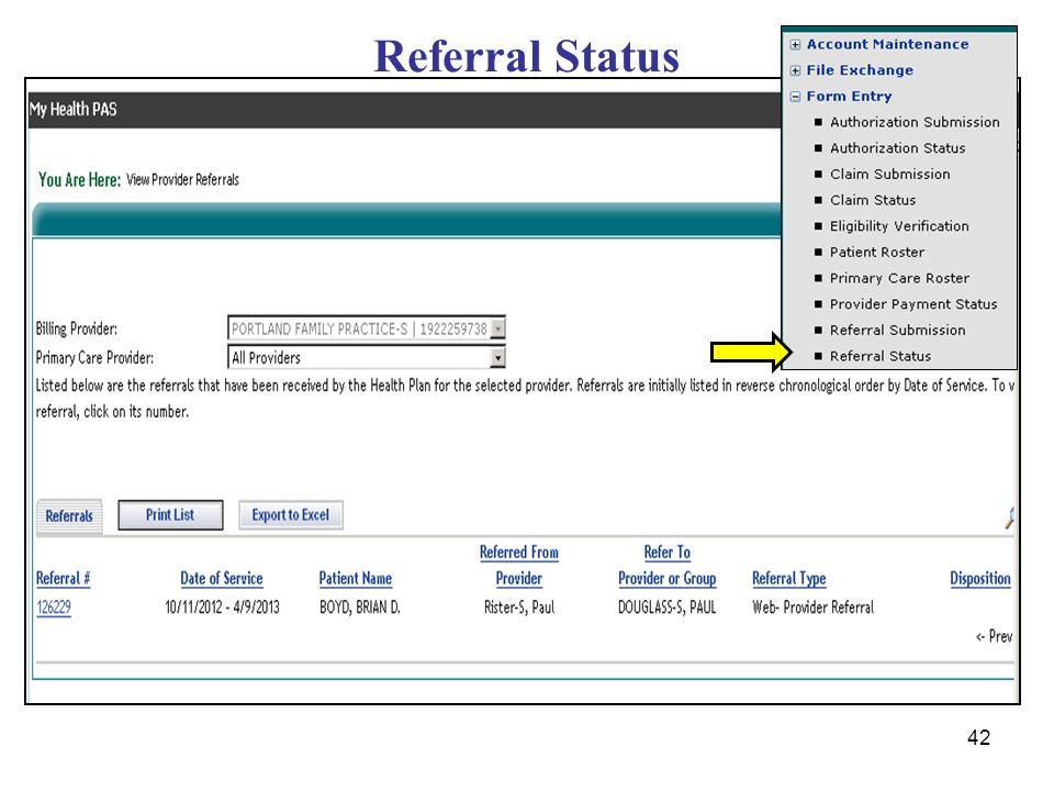 42 Referral Status