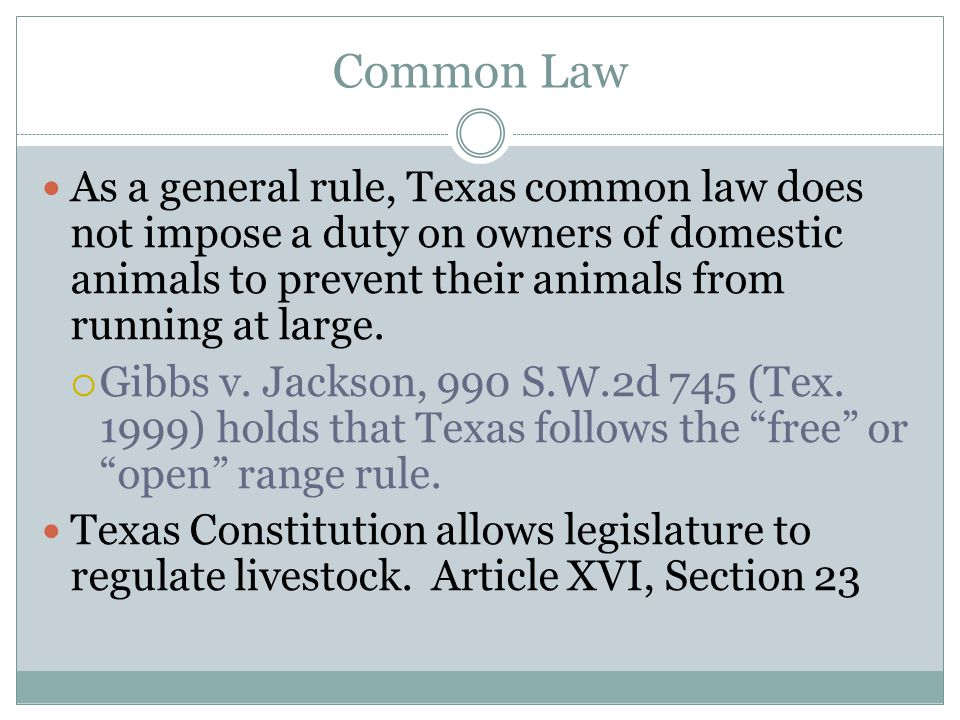 Common Law As a general rule, Texas common law does not impose a duty on owners of domestic animals to prevent their animals from running at large. 