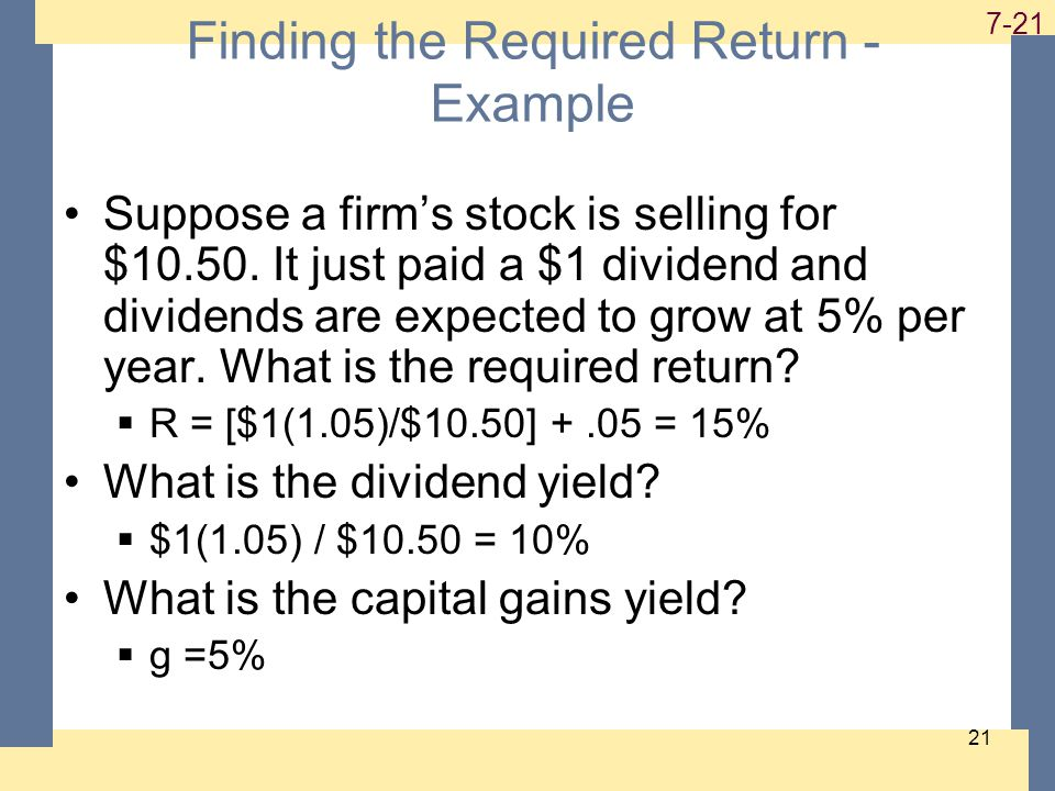 1-21 7-21 21 Finding the Required Return - Example Suppose a firm's stock is selling for $10.50.