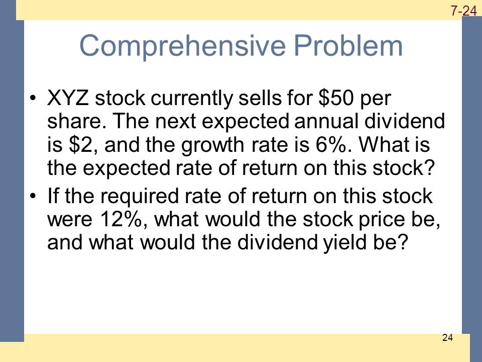 1-24 7-24 24 Comprehensive Problem XYZ stock currently sells for $50 per share.