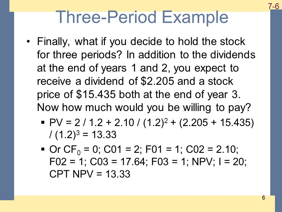 1-6 7-6 6 Three-Period Example Finally, what if you decide to hold the stock for three periods.