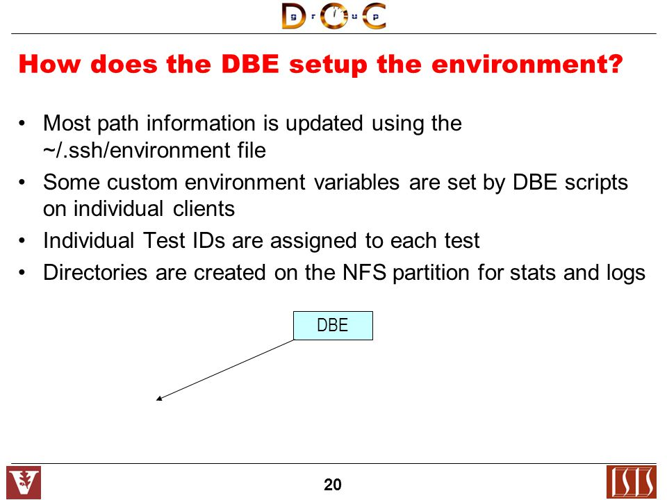 20 How does the DBE setup the environment.