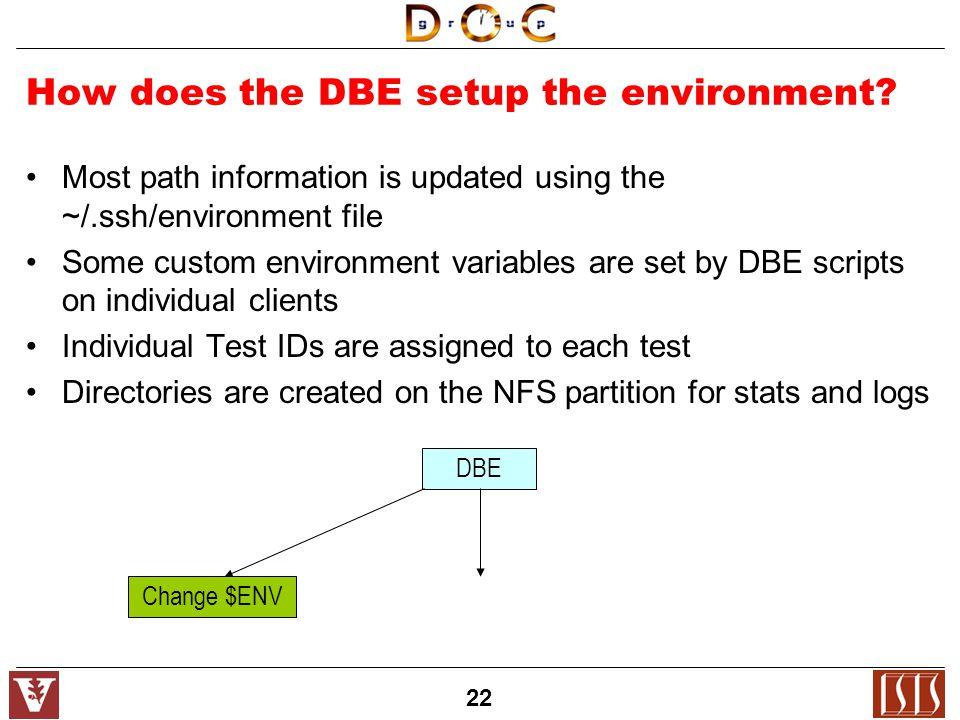 22 How does the DBE setup the environment.