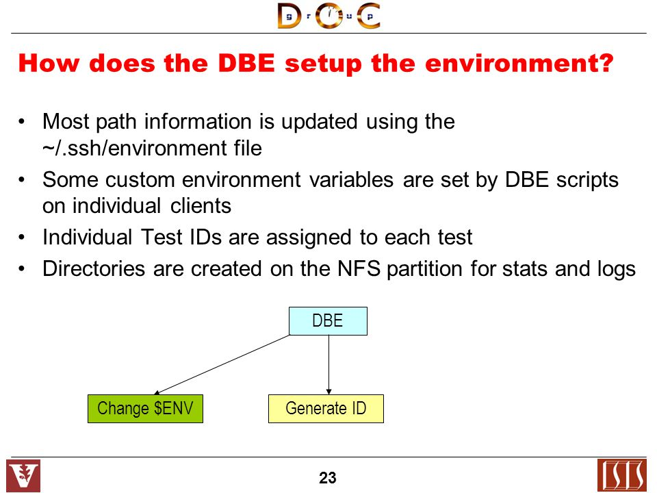23 How does the DBE setup the environment.