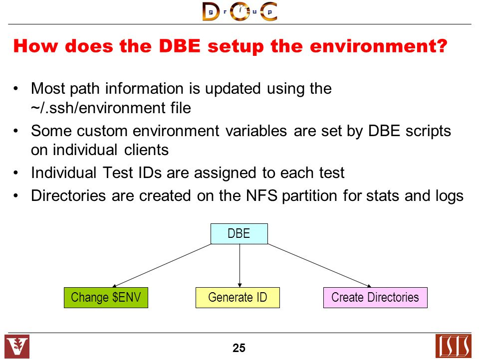 25 How does the DBE setup the environment.