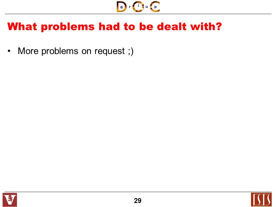 29 What problems had to be dealt with More problems on request ;)