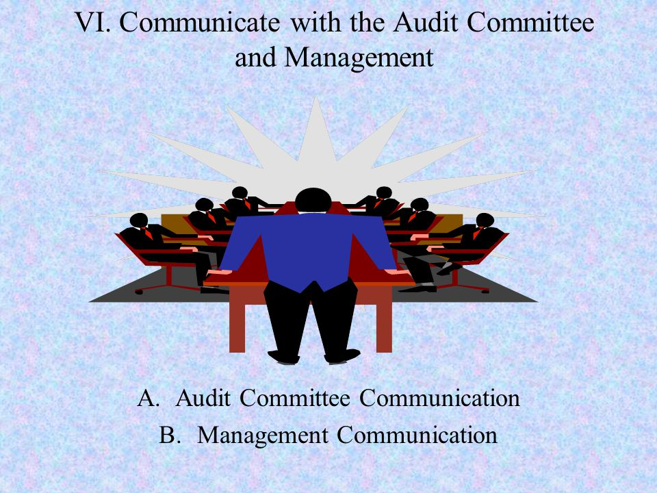 VI. Communicate with the Audit Committee and Management A.Audit Committee Communication B.Management Communication