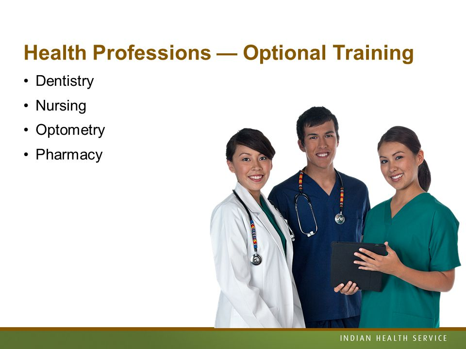 Health Professions — Optional Training Dentistry Nursing Optometry Pharmacy