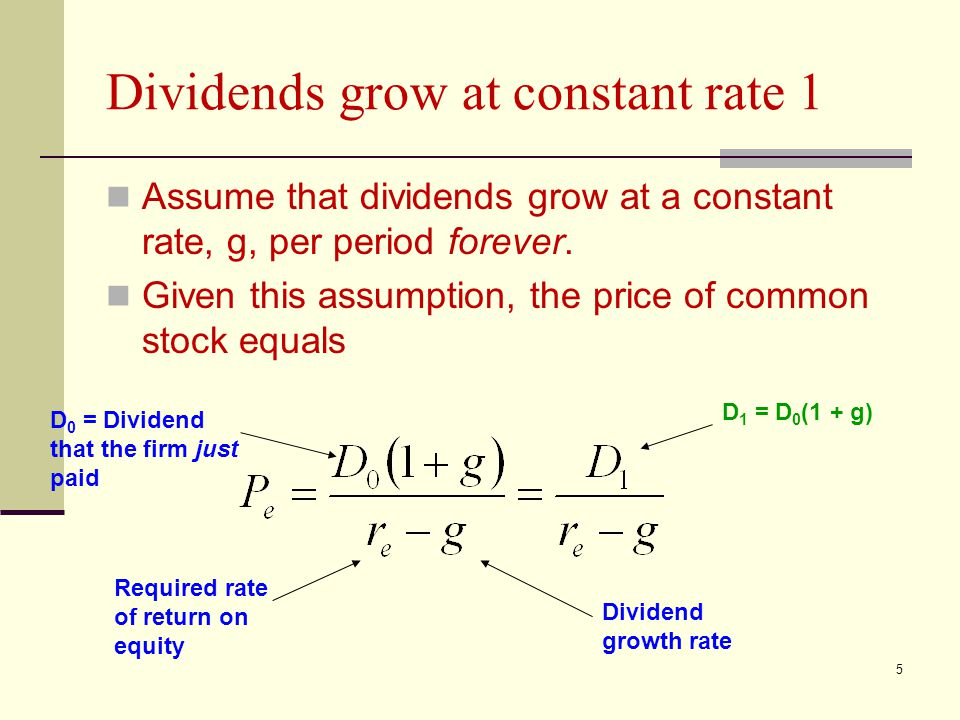 5 Dividends grow at constant rate 1 Assume that dividends grow at a constant rate, g, per period forever. Given this assumption, the price of common s