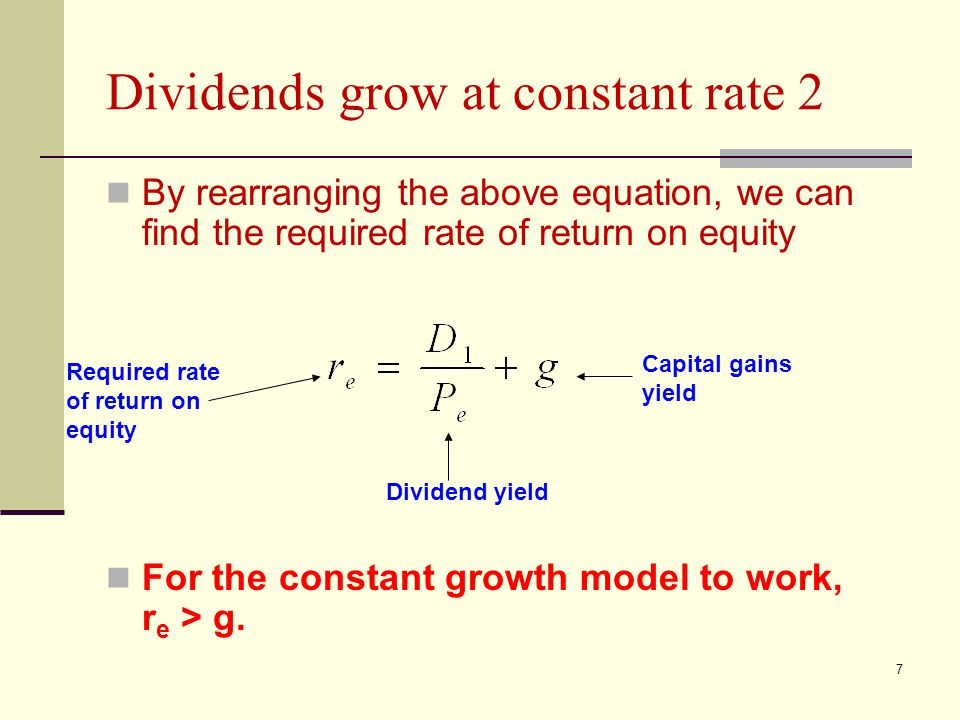 7 Dividends grow at constant rate 2 By rearranging the above equation, we can find the required rate of return on equity For the constant growth model