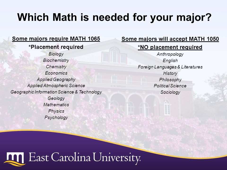 Which Math is needed for your major.