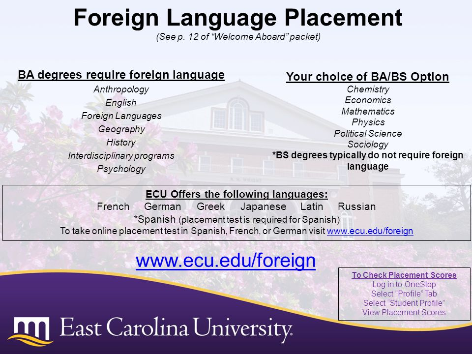 BA degrees require foreign language Anthropology English Foreign Languages Geography History Interdisciplinary programs Psychology Foreign Language Placement (See p.