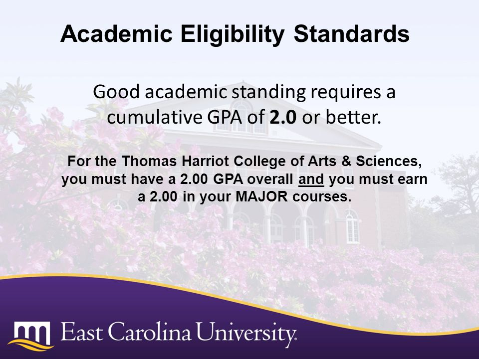 Good academic standing requires a cumulative GPA of 2.0 or better.