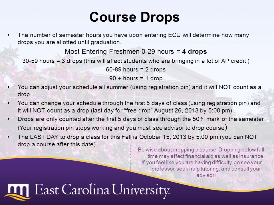 The number of semester hours you have upon entering ECU will determine how many drops you are allotted until graduation.