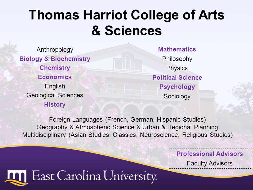 Thomas Harriot College of Arts & Sciences Anthropology Biology & Biochemistry Chemistry Economics English Geological Sciences History Foreign Languages (French, German, Hispanic Studies) Geography & Atmospheric Science & Urban & Regional Planning Multidisciplinary (Asian Studies, Classics, Neuroscience, Religious Studies) Mathematics Philosophy Physics Political Science Psychology Sociology Professional Advisors Faculty Advisors