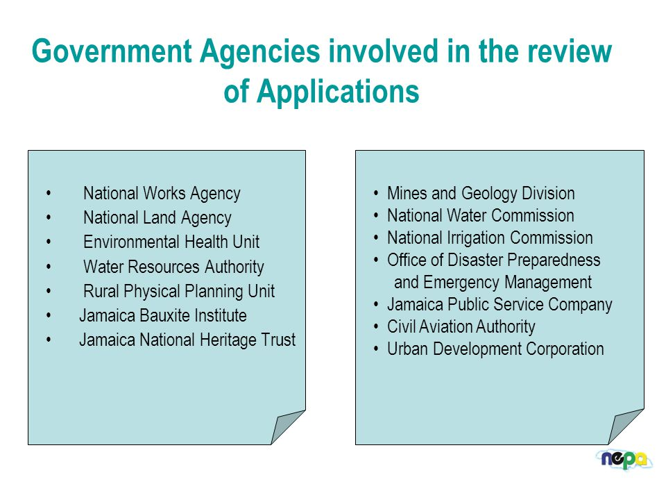 Government Agencies involved in the review of Applications National Works Agency National Land Agency Environmental Health Unit Water Resources Authority Rural Physical Planning Unit Jamaica Bauxite Institute Jamaica National Heritage Trust Mines and Geology Division National Water Commission National Irrigation Commission Office of Disaster Preparedness and Emergency Management Jamaica Public Service Company Civil Aviation Authority Urban Development Corporation