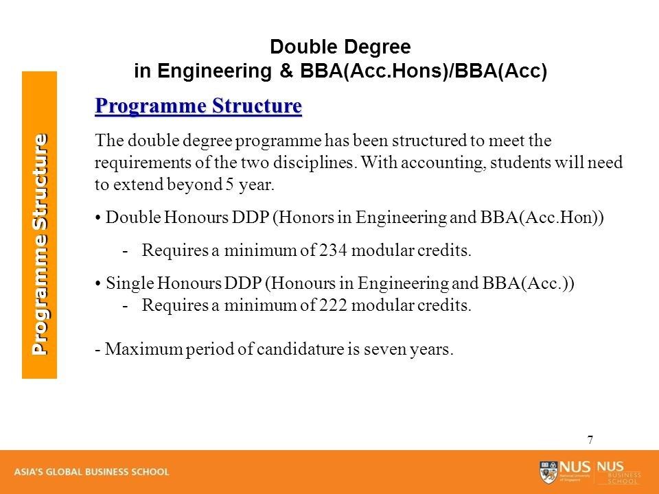 8 Type of ModulesMCs required Business Administration Modules Foundation Modules: 44MC (+ 16 MCs of Common Modules) Honour Thesis: 12 MC Accounting Essential & Elective Modules: 44 MC (+ 8 MCs at Level 4000 from Common Modules) 100 Common Modules24 Engineering Modules98 GEMs & SSM 12 Overall Total234 Programme Structure Programme Structure Double Degree in Engineering & BBA (Acc.Hons.) Program structure maybe subjected to changes.