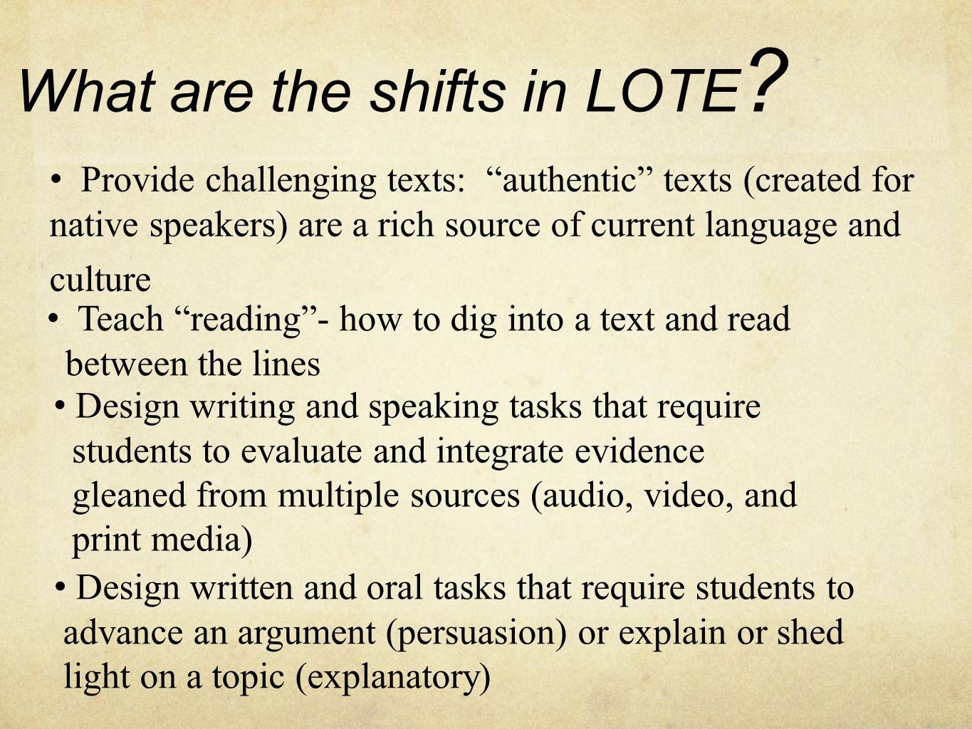 What are the shifts in LOTE .