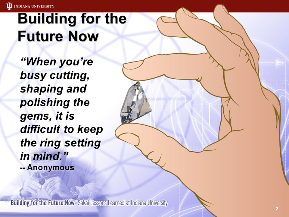 Building for the Future Now 2 When you're busy cutting, shaping and polishing the gems, it is difficult to keep the ring setting in mind. -- Anonymous