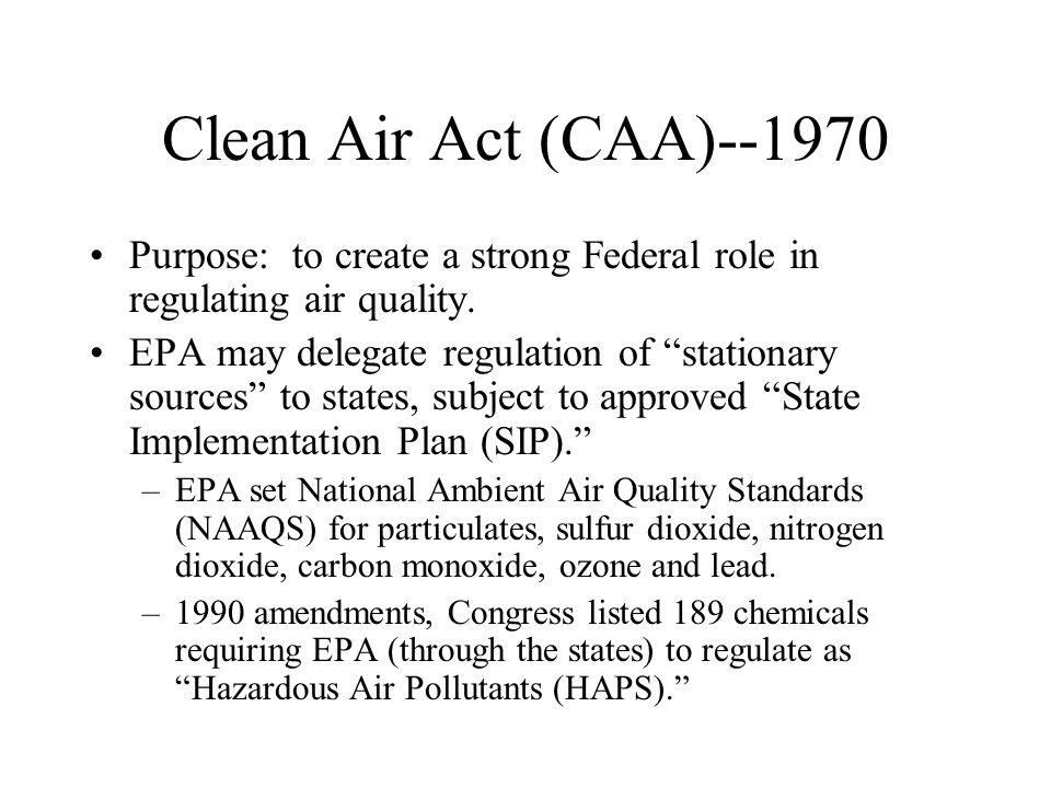 Resource Conservation and Recovery Act (RCRA)--1976 Purpose: to assure safe management of solid wastes and hazardous wastes.