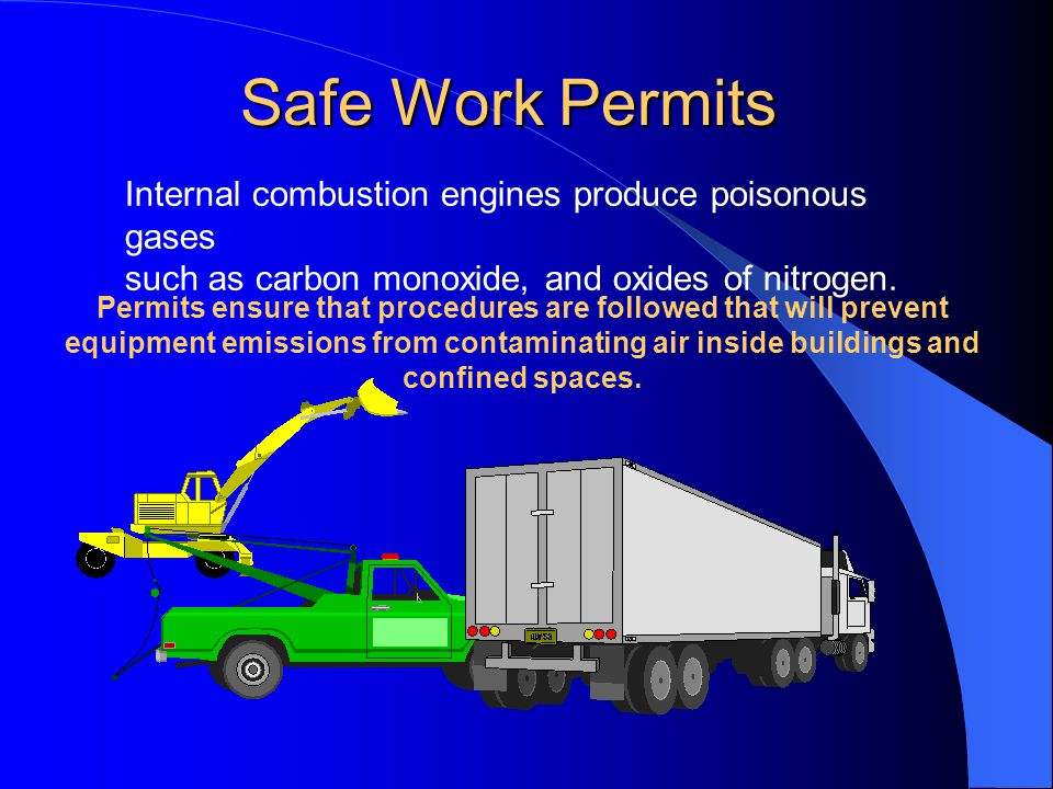 Safe Work Permits Internal combustion engines produce poisonous gases such as carbon monoxide, and oxides of nitrogen.