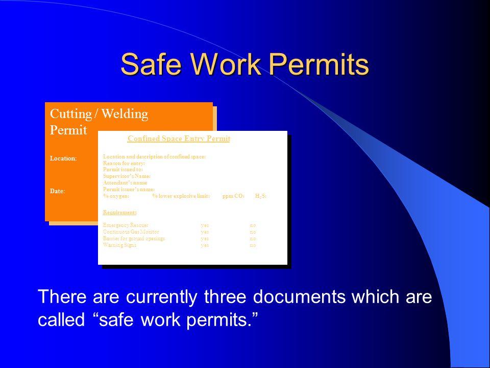 Safe Work Permits Cutting / Welding Permit Location: Job No.