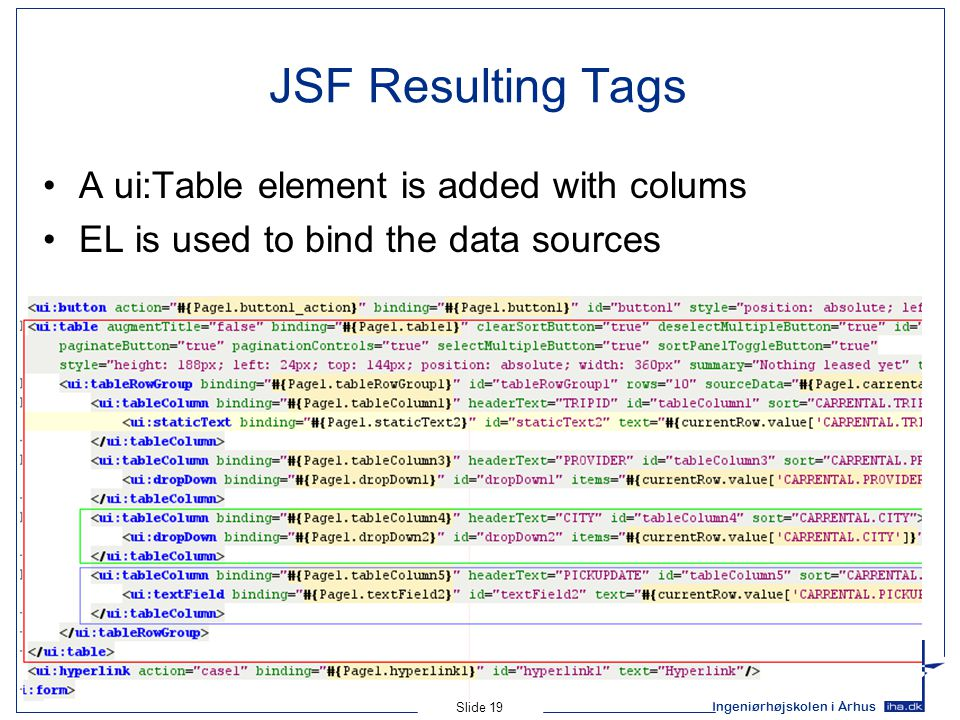 Ingeniørhøjskolen i Århus Slide 19 JSF Resulting Tags A ui:Table element is added with colums EL is used to bind the data sources