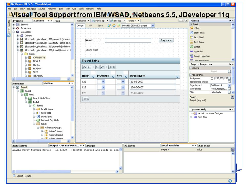 Ingeniørhøjskolen i Århus Slide 4 Visual Tool Support from IBM WSAD, Netbeans 5.5, JDeveloper 11g