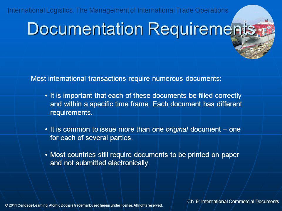 International Logistics: The Management of International Trade Operations Ch.
