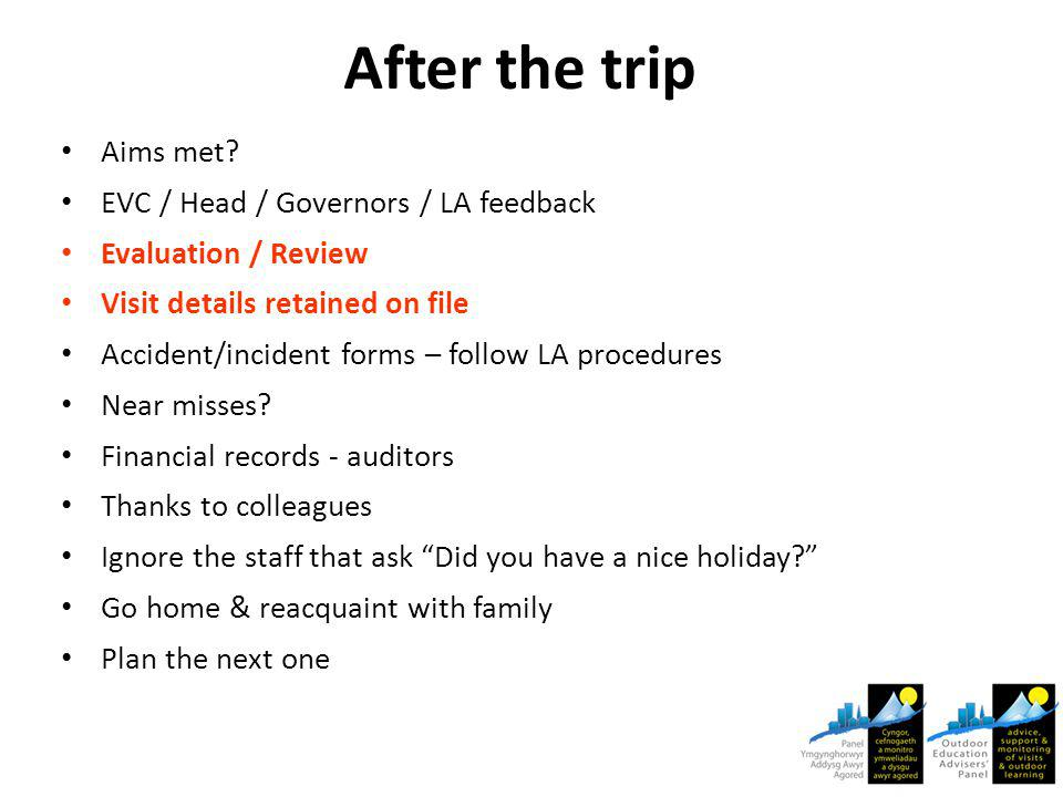 After the trip Aims met.