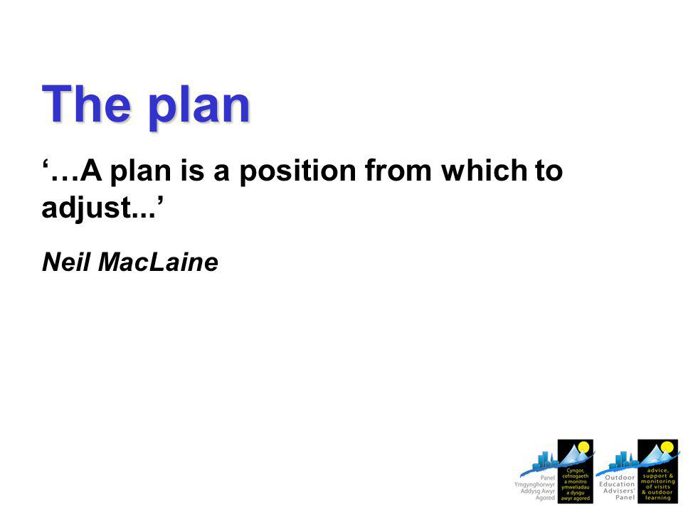 The plan '…A plan is a position from which to adjust...' Neil MacLaine