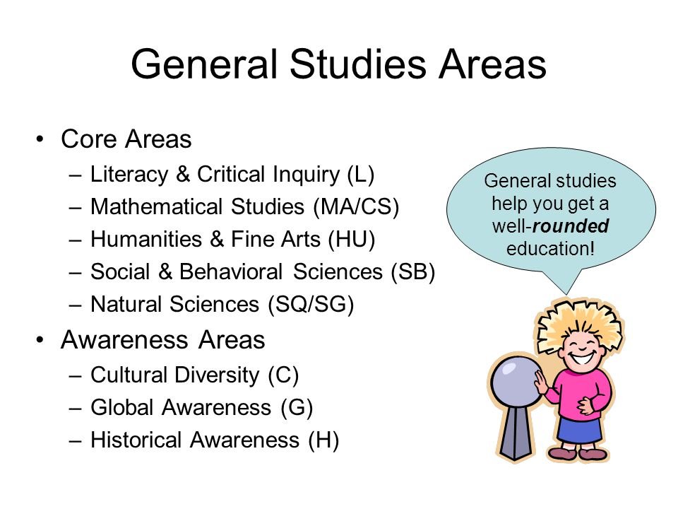 General Studies Areas Core Areas –Literacy & Critical Inquiry (L) –Mathematical Studies (MA/CS) –Humanities & Fine Arts (HU) –Social & Behavioral Sciences (SB) –Natural Sciences (SQ/SG) Awareness Areas –Cultural Diversity (C) –Global Awareness (G) –Historical Awareness (H) General studies help you get a well-rounded education!