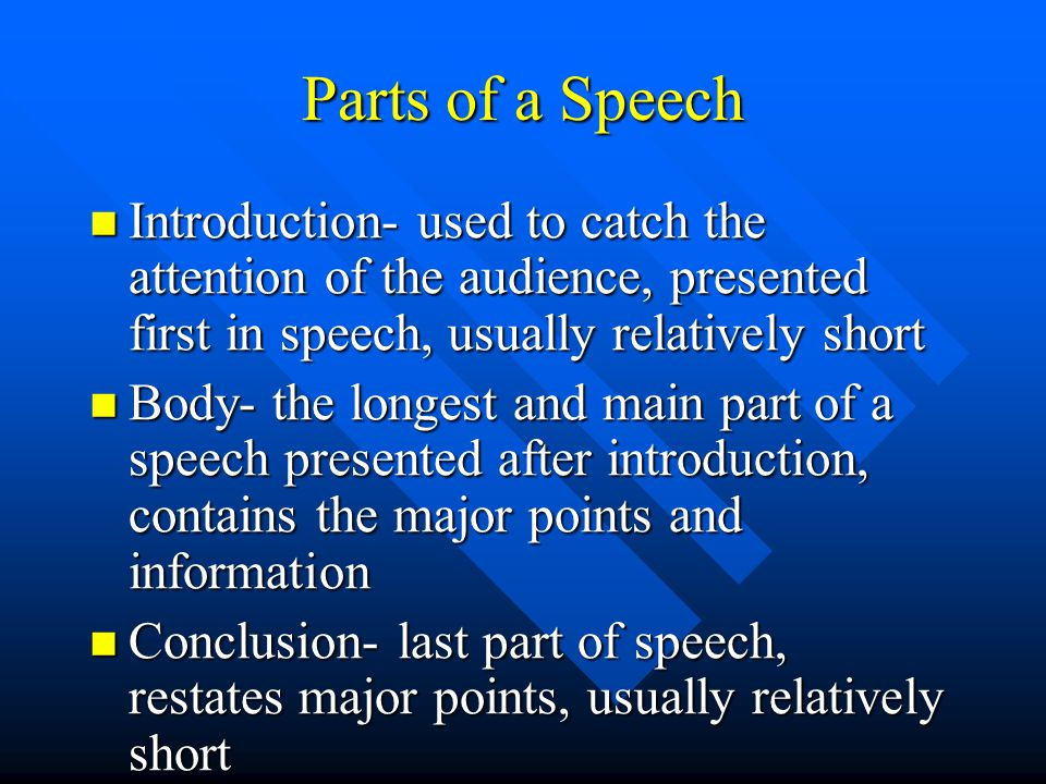Parts of a Speech Introduction- used to catch the attention of the audience, presented first in speech, usually relatively short Introduction- used to catch the attention of the audience, presented first in speech, usually relatively short Body- the longest and main part of a speech presented after introduction, contains the major points and information Body- the longest and main part of a speech presented after introduction, contains the major points and information Conclusion- last part of speech, restates major points, usually relatively short Conclusion- last part of speech, restates major points, usually relatively short