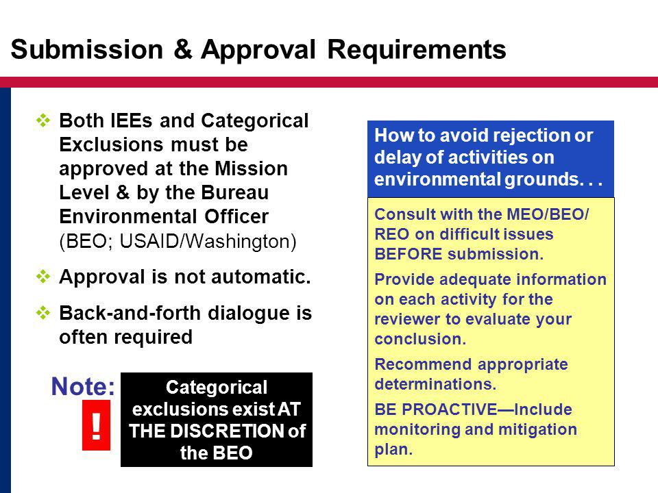 Submission & Approval Requirements Consult with the MEO/BEO/ REO on difficult issues BEFORE submission.