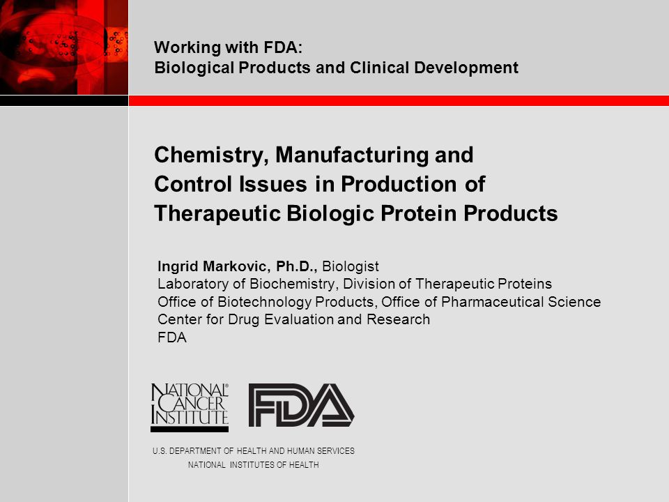 Working with FDA: Biological Products and Clinical DevelopmentIngrid Markovic 2 x 6 x 4 x 4 x 5 x 5 x 2 = 9600 K pyro-E O D G G D O D (9600) 2 ≈ 10 8 O O  Methionine oxidation (2 x 2) pyro-E  Pyro-Glu (2)  High mannose, G0, G1, G1, G2 (5)  Sialylation (5) D D D G G  Glycation (2 x 2) K  C-term Lys (2) (Courtesy of Dr.