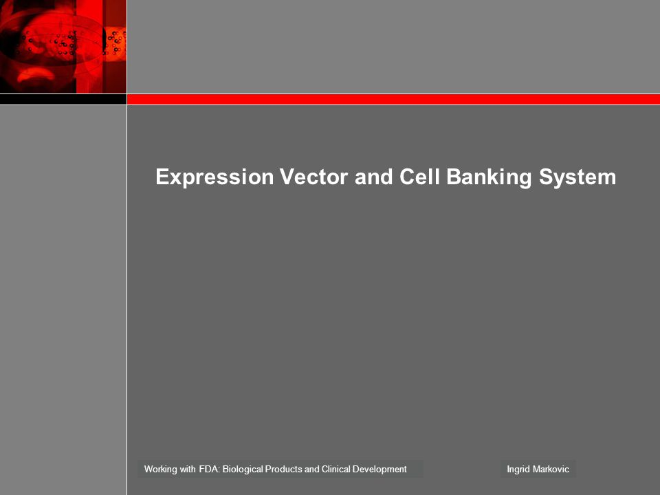 Working with FDA: Biological Products and Clinical DevelopmentIngrid Markovic Expression Vector and Cell Banking System