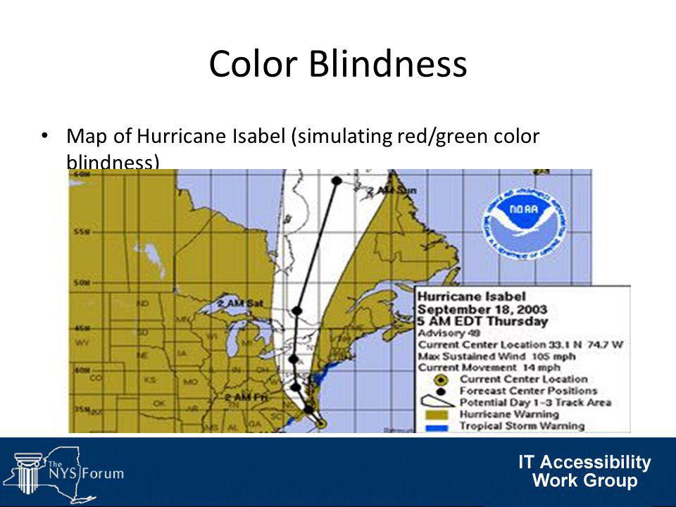 Map of Hurricane Isabel (simulating red/green color blindness) Color Blindness