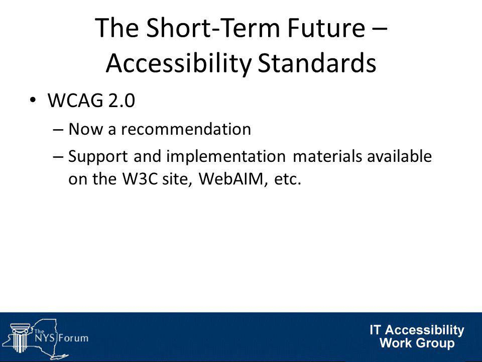 The Short-Term Future – Accessibility Standards WCAG 2.0 – Now a recommendation – Support and implementation materials available on the W3C site, WebAIM, etc.