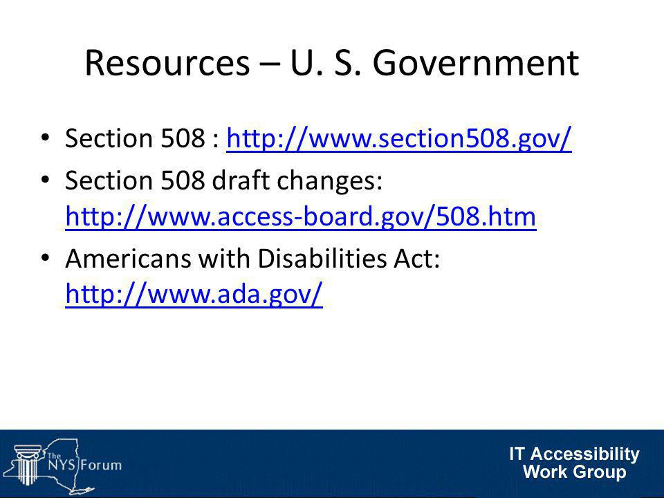 Resources – U. S.