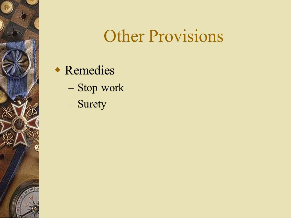 Other Provisions  Remedies – Stop work – Surety