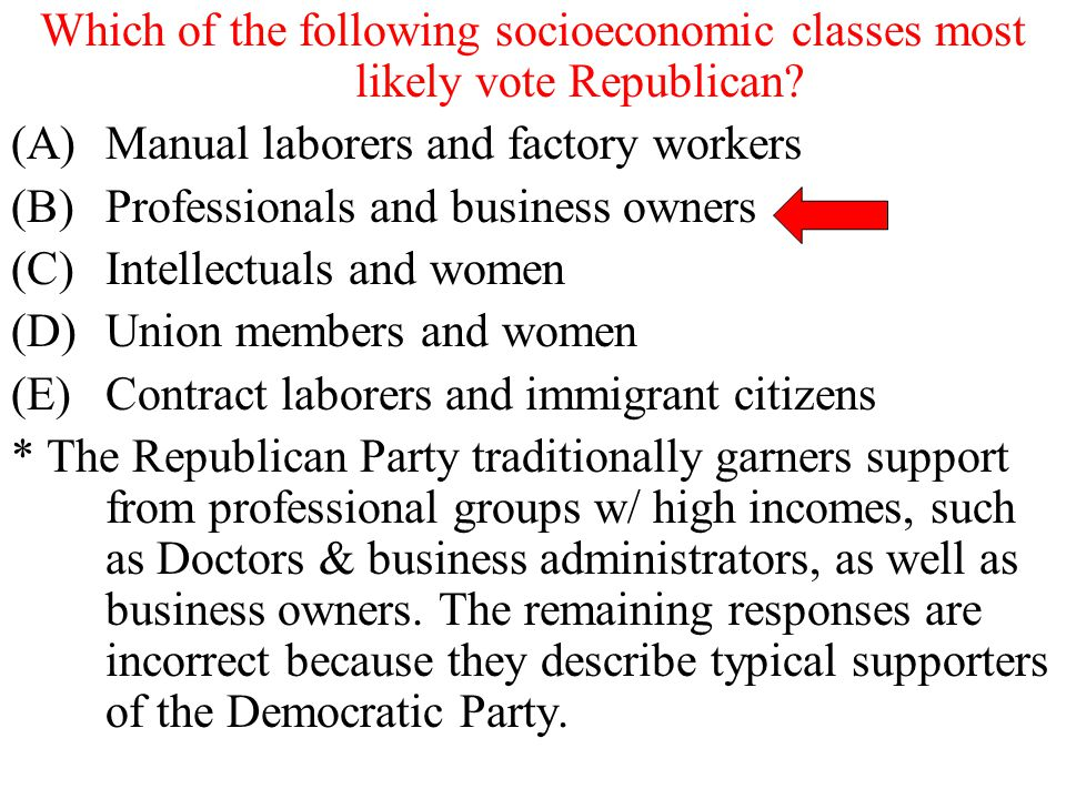 Which of the following socioeconomic classes most likely vote Republican? (A)Manual laborers and factory workers (B)Professionals and business owners