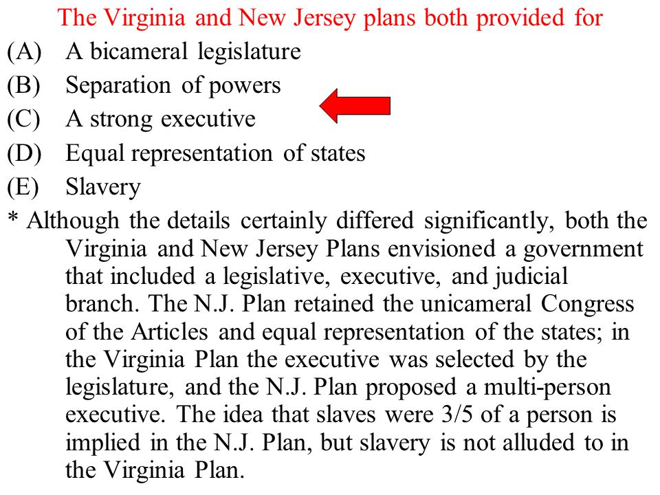 The Virginia and New Jersey plans both provided for (A)A bicameral legislature (B)Separation of powers (C)A strong executive (D)Equal representation o