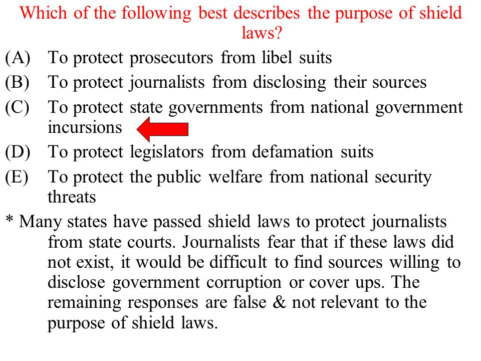 Which of the following best describes the purpose of shield laws? (A)To protect prosecutors from libel suits (B)To protect journalists from disclosing
