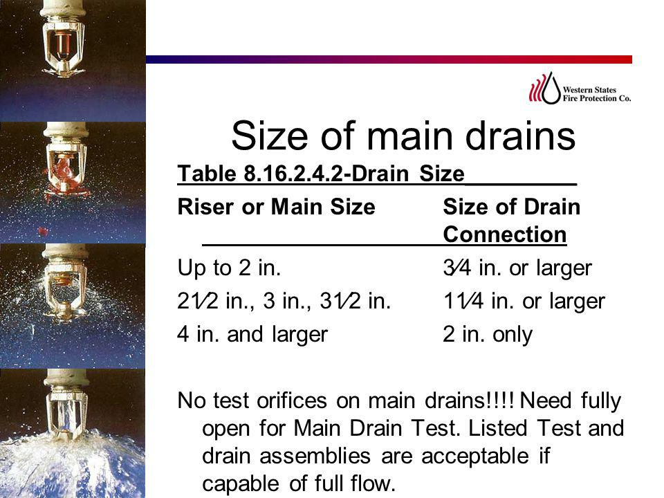 Size of main drains Table 8.16.2.4.2-Drain Size_________ Riser or Main Size Size of Drain Connection Up to 2 in. 3⁄4 in. or larger 21⁄2 in., 3 in., 31