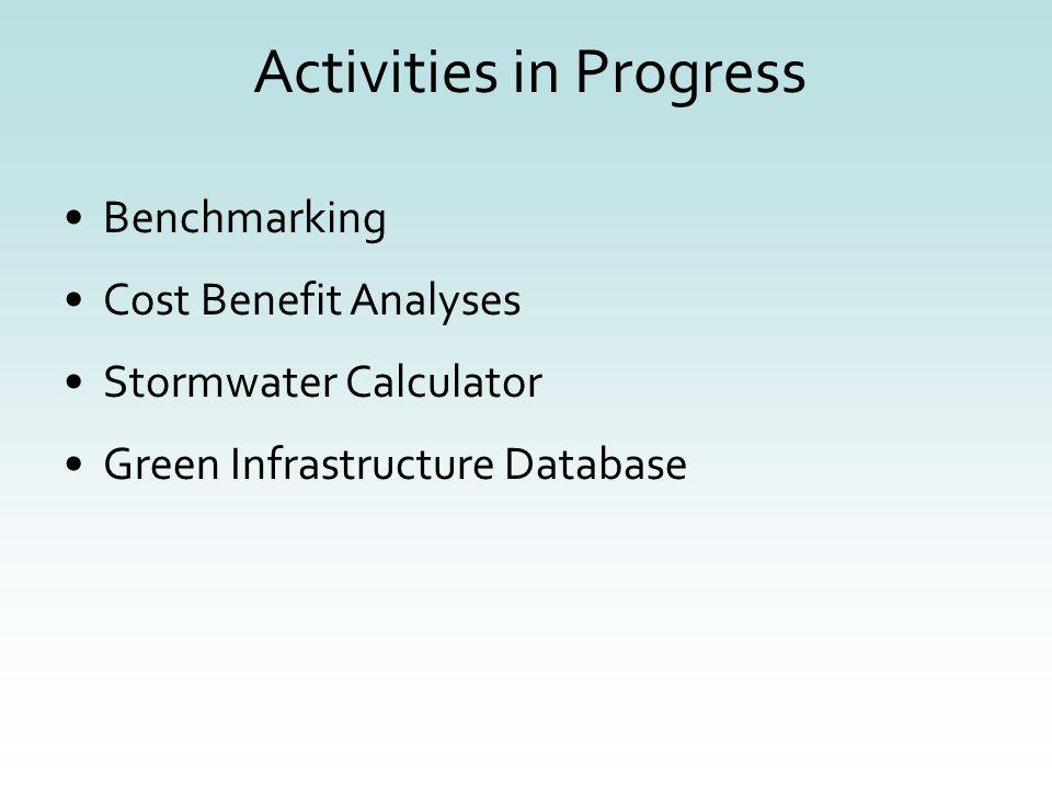 Activities in Progress Benchmarking Cost Benefit Analyses Stormwater Calculator Green Infrastructure Database