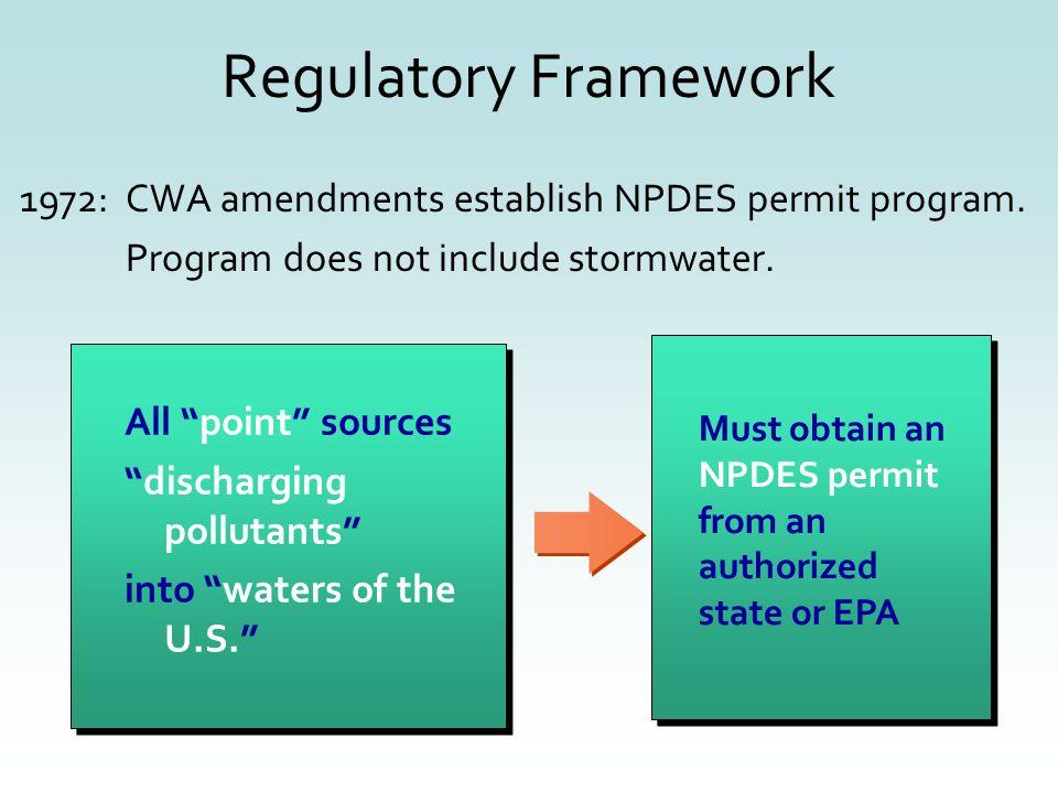 1972:CWA amendments establish NPDES permit program.